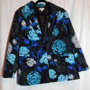 XL Susan Graver Floral Blazer Jacket